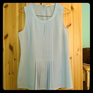 Dex Sky Blue Tank Blouse with Keyhole Front